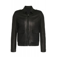 Mens Classic two pockets Collar Genuine Sheep Leather jacket