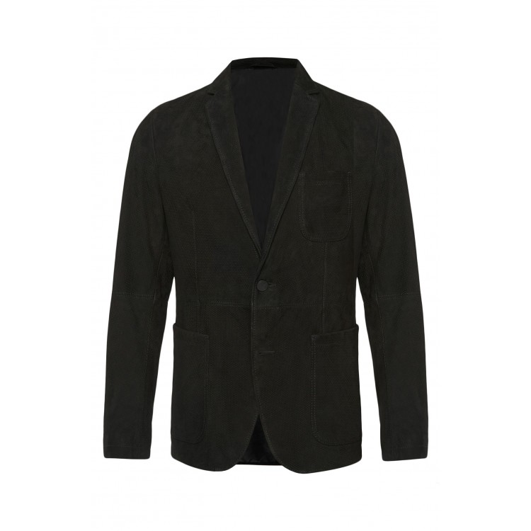Mens genuine goat suede perforated leather blazer
