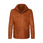 Mens four patch pockets Buffalo tan leather jacket