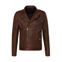 Mens dark brown genuine buffalo glaze leather jacket