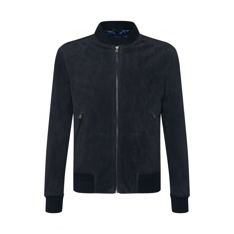 Men's classic Genuine Goat suede perforated dark blue summer leather jacket