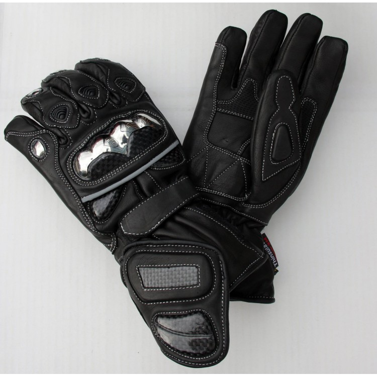 Motorbike Real carbon Black cowhide aniline leather gloves