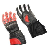 Motorbike cowhide aniline leather red and black real carbon gloves