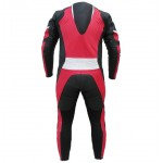 Mens motorbike cowhide milled leather red and black suit