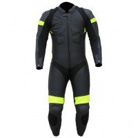 Mens motorbike one piece cowhide milled black leather suit