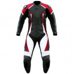 Mens motorbike cowhide milled leather black white red suit