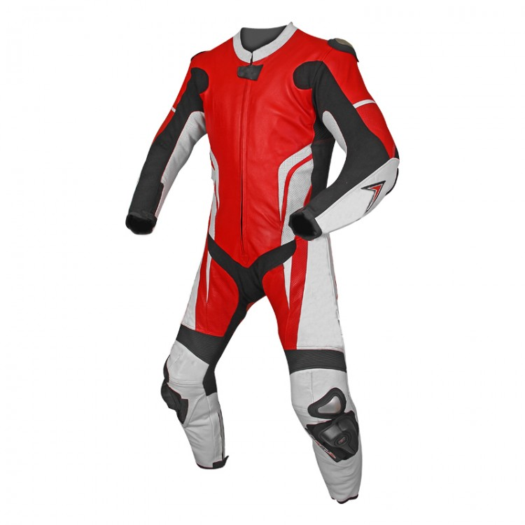 Mens motorbike one piece cowhide milled white and red leather suit