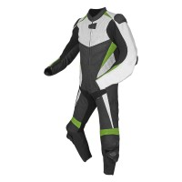 Mens motorbike cowhide milled leather summer white and black perforated suit