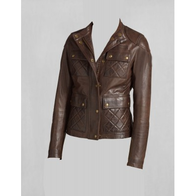 Ladies Brown four quilted pockets buffalo glaze leather jacket