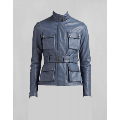 Ladies Blue four box pockets and belt buffalo glaze leather jacket