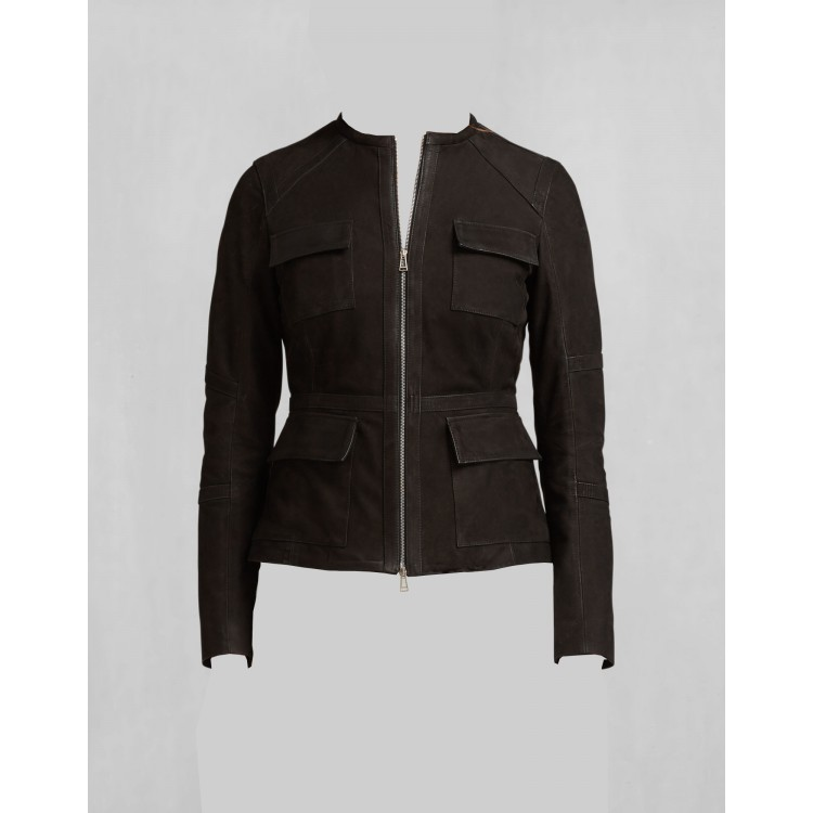 Ladies dark brown goat suede 4 patch pockets leather jackets