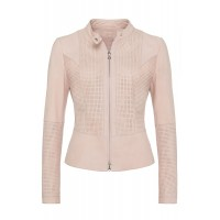 Ladies Light Pink sheep perforated leather jacket