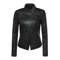Ladies black sheep washed and waxed cross front leather jacket