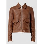 Ladies brown sheep leather jacket with collar and two front patch pockets