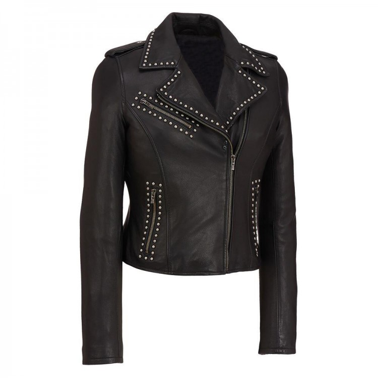 Ladies black sheep leather jacket with rivet studs