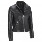 Ladies black biker style sheep leather jacket with padding on shoulder