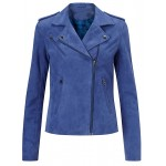 Ladies blue goat suede three pockets leather jacket