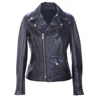 Ladies biker jacket of cowhide black with flap and zipper pockets