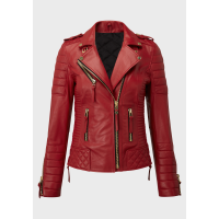 Ladies Red sheep nappa leather biker quilted jacket