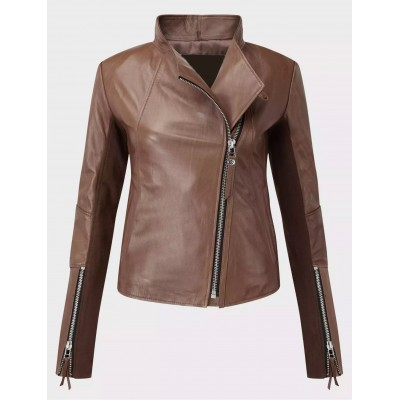 Ladies Sheep nappa brown fashion leather jacket