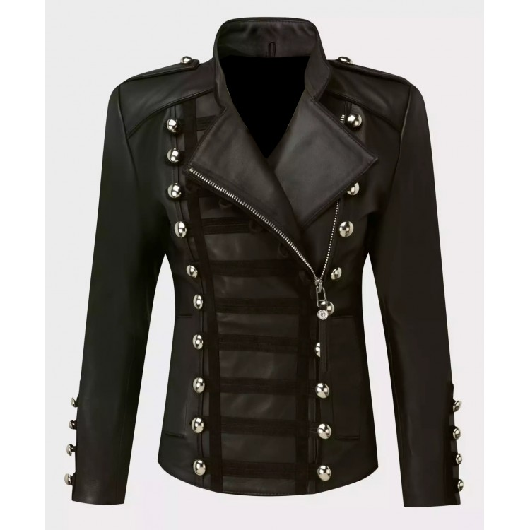 Ladies black sheep nappa leather button style jacket