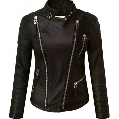 Ladies black sheep nappa leather jacket with silver sippers