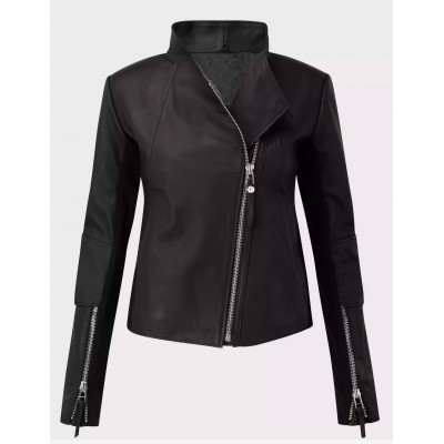Ladies black sheep nappa leather jacket biker style