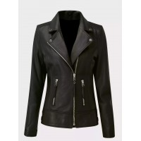 Ladies black sheep nappa leather biker jacket