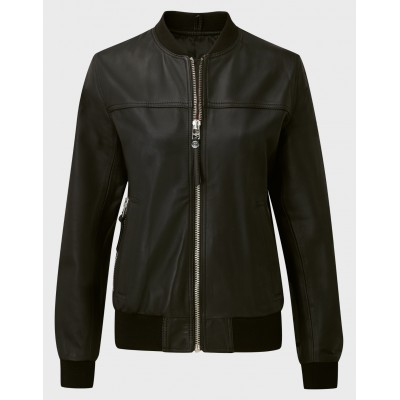 Ladies black sheep nappa bomber jacket
