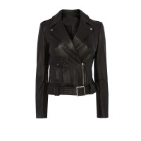 Ladies black cowhide leather patch pocket leather jacket