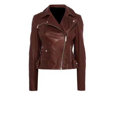 Ladies burgundy buffalo glaze leather jacket with 4 front pockets