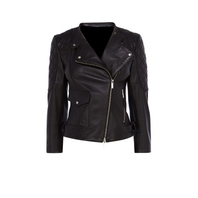 Ladies black buffalo glaze leather quilting padding jacket