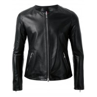 Ladies Black sheep nappa without collar leather jacket