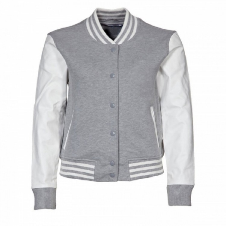Ladies Bomber Grey Wool and white sheep leather jacket