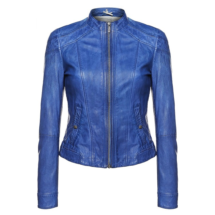 Ladies blue sheep washed & waxed zipper leather jacket