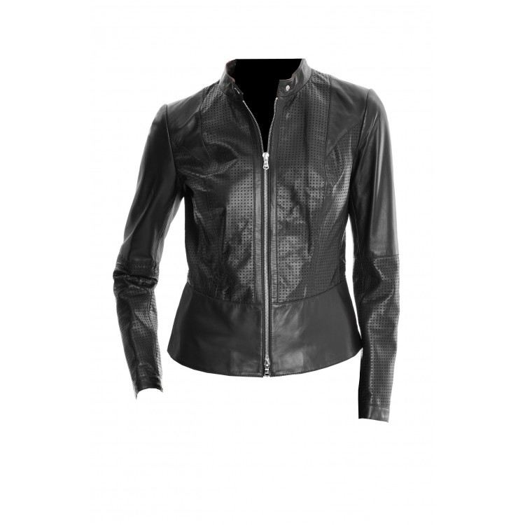 Ladies perforated black sheep leather jacket