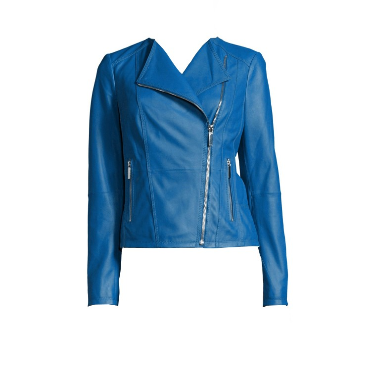 Blue Sheep fashion leather Jacket without collar