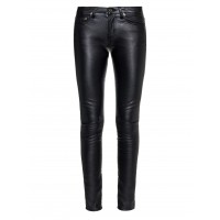 Ladies black cowhide plain leather jean style trouser