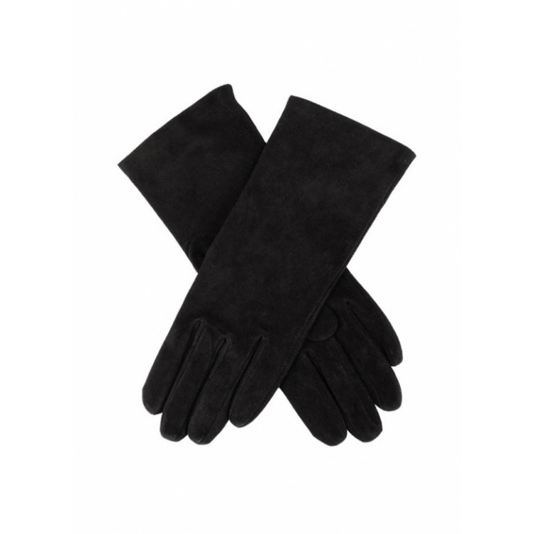 Black suede leather gloves